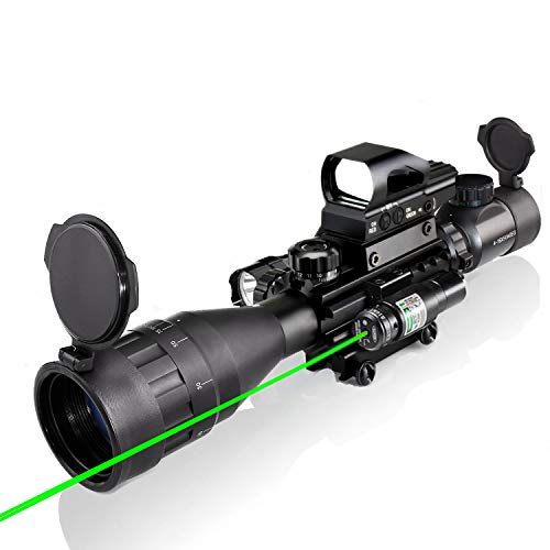 4-16x50AO Scope Combo Dual Illuminated with Green Laser Sight 4 Holographic Reticle Red/Green Dot for Weaver/Rail Mount
