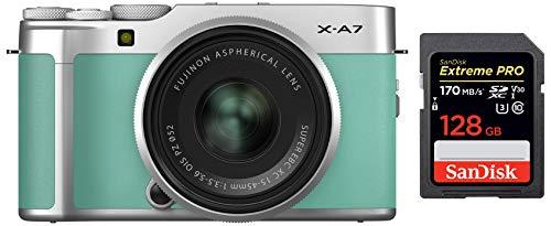 Fujifilm X-A7 Mirrorless Digital Camera w/XC15-45mm F3.5-5.6 OIS PZ Lens, Mint Green + SanDisk 128GB Extreme Pro SDXC UHS-I Card - C10, U3, V30, 4K UHD, SD Card