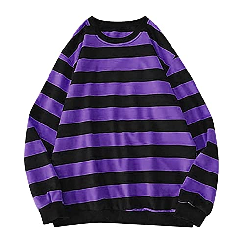 Wave166 Sudadera de mujer de dos colores a rayas, manga larga, cuello redondo, blusa ligera en corte clásico, para uso diario, informal, para otoño., morado, XXL