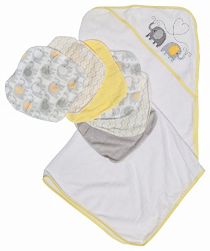 Price comparison product image Little Beginnings Elephant Print Hooded Towel and Washcloths Gift Set,  Yellow