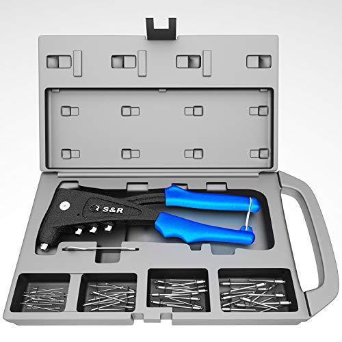 S&R Blindnietzangen-Set mit 60 Nieten: 2,4 mm, 3,0/3,2 mm, 4,0 mm, 4,8/5,0 mm Nietzange Set mit Zange und Blindnieten, Nietenzange in Werkzeugbox Blindnietenzange