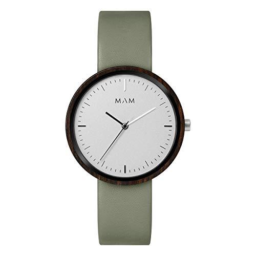 Reloj Madera Mam 643 Plano Ébano Hombre Piel Verde