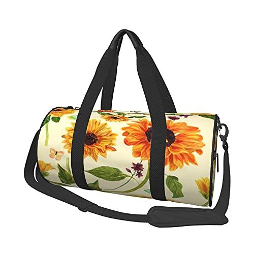 Borsone da palestra modello girasoli e farfalle acquerello per donna uomo viaggio weekender borse da viaggio