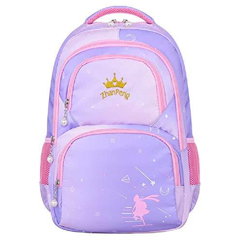 BOLONG Children's Boys and Girls School Backpack 45 * 20 * 31Cm Elementary School Bag, Children's Cartoon Cute School Bag Purple pink