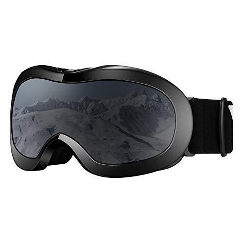 VELAZZIO Kids Ski Goggles, Snowboard Goggles OTG Snow Goggles Anti-Fog Double-Layer Lenses, 100% UV Protection (Christmas White Frame/Grey Lens with Revo Red Coating (VLT 15%))