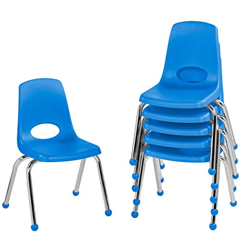 """FDP 14"""" School Stack Chair,Stacking Student Seat with Chromed Steel Legs and Ball Glides; for in-Home Learning or Classroom - Blue (6-Pack)"""