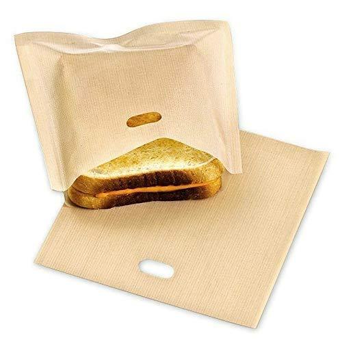 LXMAO Bolsas para tostadora reutilizables, antiadherente Bolsas de Sándwiches Pan Queso Tostadora bolsas para Microondas, Horno, Tostadora, Parrilla (Pack de 10)