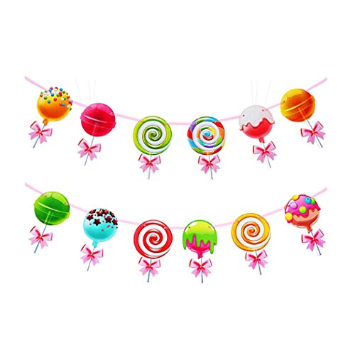 HaMoSena Candy Banner Lollipop Garland Candyland Party Decorations Candy Theme Cutout for Kids Girls Party Supplies, Birthday, Baby Shower, Wedding