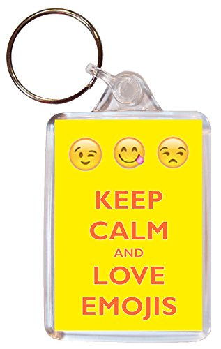 Keep Calm and Love Emojis - Double Sided Large Keyring Key Ring Fob Chain Name Tag Souvenir/Gift/Present