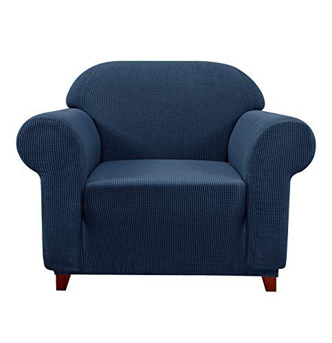 subrtex Sofabezug Stretch Sofahusse Elastisch Couch überzug Spandex Sesselbezug mit Armlehne Antirutsch Sofaüberwurf (1 Sitzer, Dunkelblau)