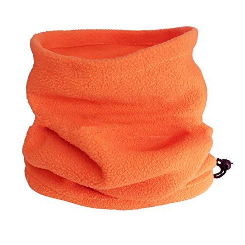 Unisex Inverno Esterno Tinta unita Morbido Spesso In Pile Scaldacollo Ghetta Copertura Cappello Arancione Taglia unica