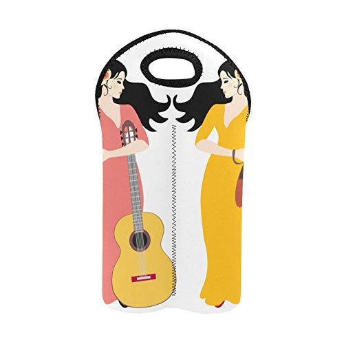Weinbeutel Geschenk Schöne spanische Frauen Eine Gitarre Traditionelle Feiertagsweinbeutel Doppelflaschenträger Schnaps-Tragetasche Dicker Neopren Weinflaschenhalter hält Flaschen