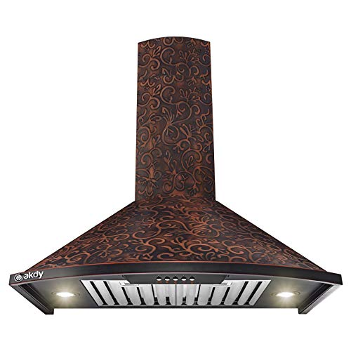 "AKDY Wall Mount Range Hood -30"" Embossed Copper Hood Fan for Kitchen - 3-Speed Professional Quiet Motor - Premium Push Control Panel - Dishwasher Safe Baffle Filters (Embossed Copper Vine Design)"
