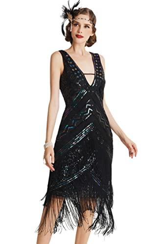 BABEYOND 1920s Kleid Damen Flapper Charleston Kleid Sexy V Ausschnitt Great Gatsby Motto Party Damen Fasching Kostüm Kleid (SchwarzBunt S)