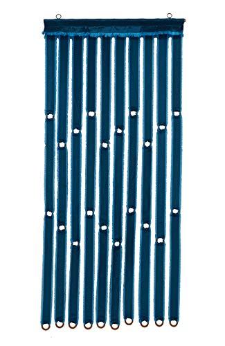 Lesli Living Türvorhang Stoff Satin blau, 10 Stränge, 90x200cm