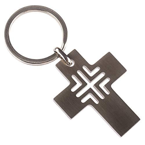 Junker Kirchenbedarf Schlüsselanhänger Metall - Kreuz Anhänger aus Edelstahl Silber 3x3,8cm, Schlüsselring Federring Ø 2,5cm