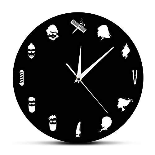 bbmmww Peluquería Reloj De Pared Decorativo Equipos De Peluquería con Peluquería Reloj De Pared Moderno Peluquería Belleza Peluquería Decoración Arte