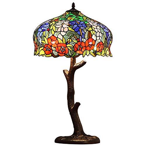 Kwdzlighting Lámpara de mesa de vidrio de estilo Tiffany Lámpara de acento de estilo victoriano, hoja de arce colorida, con una base de tronco de árbol de bronce vintage Lámparas de mesa decorativas d