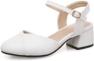 BalaMasa Womens ASL06551 Pu Block Heels