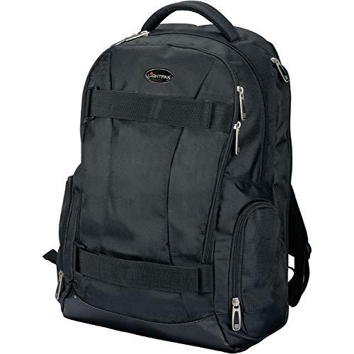 Lightpak Rucksack Hawk, Laptoprucksack aus Polyester für 14 Zoll Notebook, Backpack mit Polsterung Rucksack, 46 cm, 34 Liter, Schwarz