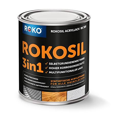 ROKOSIL Acrylic Coloured Paint 0.6 Litres in Brown Silk Matt Weatherproof for Outdoor and Indoor Use 3-in-1 Primer & Top Paint Premium Acrylic Paint Paint for Almost All Surfaces Durable & Robust