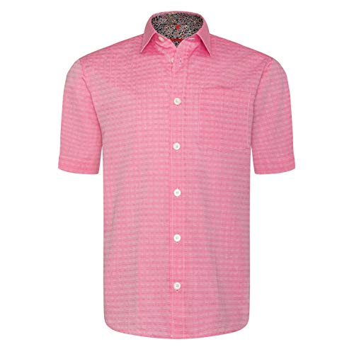 Signum - Frisches ICON Kurzarmshirt mit Webmuster - Rosa - Classic Fit
