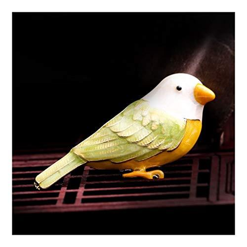 Broche del pájaro del Loro joyería Pin Retro nórdica Hombres Mujeres se Visten de Traje Ropa de la Chaqueta de Clip Lindo Ramillete Hebilla (Color : Green)
