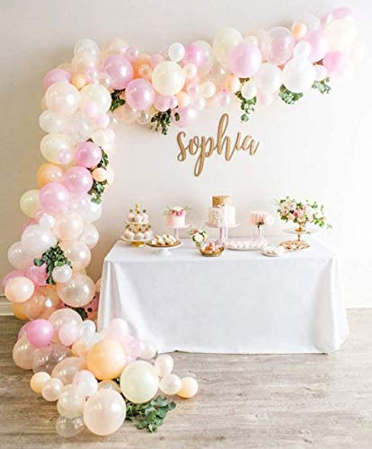 Balloon Garland Arch Kit, Including 125PCS White Pink Pearl Ivory Blush Balloons Decorations Backdrop Ideal for Girls Women Wedding Birthday Baby Shower Bridal Engagement Party Decorations