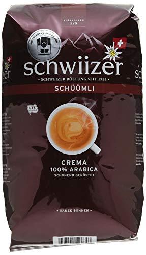 Schwiizer Schüümli Crema Ganze Kaffeebohnen (4kg, Stärkegrad 3/5, Premium Arabica) 4er Pack x 1kg