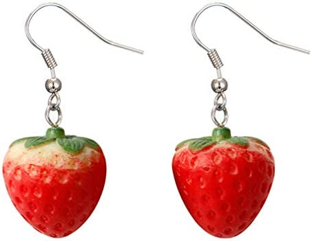 GloryMM 3D Red Strawberry Earrings with Green Leaf Lovely Fruit Resin Drop Ear Hook Women Girls product image