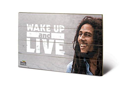 Pyramid International sw11159p Bob Marley (Wake Up & Live) Madera Pared de Arte, Madera, Multicolor, 40x 2,5x 59cm