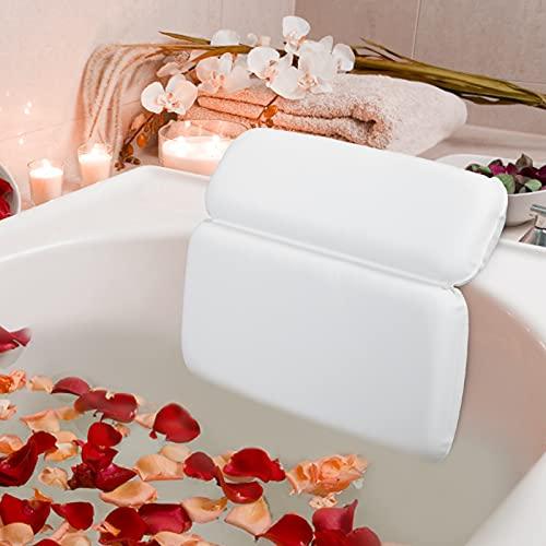 HOUT Almohada de Baño | Cojín para Bañera de baño con 7 ventosas | Accesorios Bañeras de baño para SPA | Accesorios de baño de Lujo para hidromasajes, bañeras y Spas (Blanco)