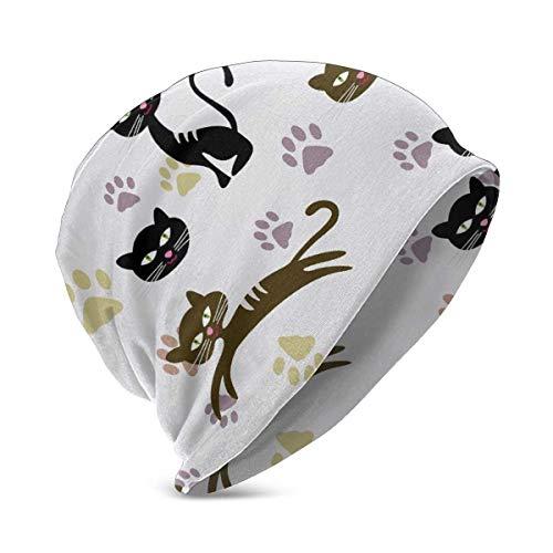 Patrón sin costuras con gato y huellas de algodón Beanie Hat para lindo bebé niño/niña suave gorro infantil