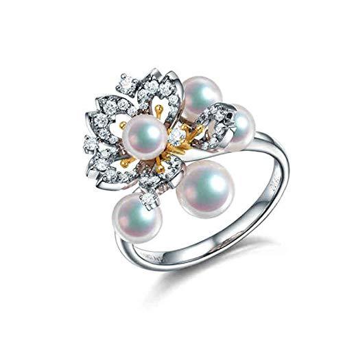 KnSam 18K Oro Blanco Anillo, Anillos de Aplicación Flores de Cerezo con Perla Diamante Blanco, Perla Blanco, Color Oro Blanco - Talla 25
