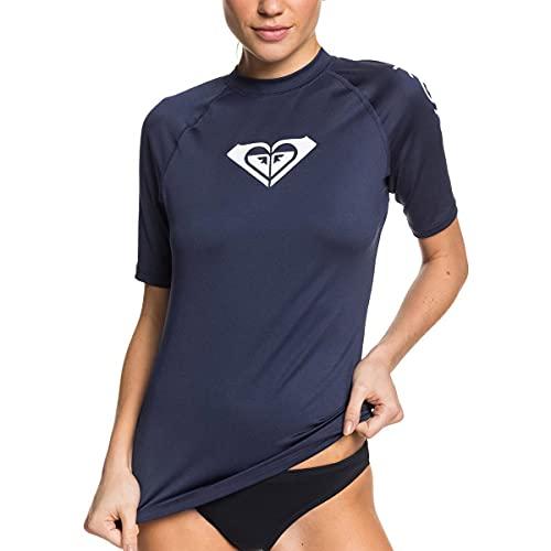 Roxy Women's Standard Whole Hearted Short Sleeve Rashguard, Mood Indigo 2020, XL