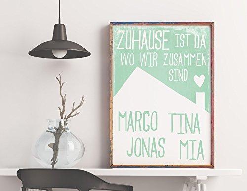 Dein Familien-Poster: Zuhause ist da wo wir zusammen sind, pastell minty green, mit den Namen Deiner Familienmitglieder