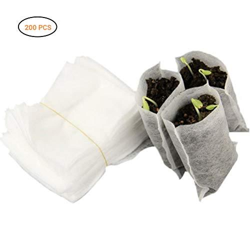 Hihey 200 stuks biologisch afbreekbare vlies voor de kleuterschool zakken planten waxen milieuzakken stof zaailing potten planten zak huistuin verzorging