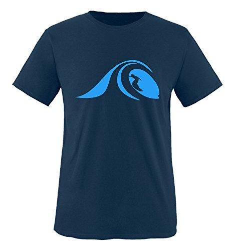 Comedy Shirts - Surfer Welle - Herren T-Shirt - Navy/Blau Gr. XL