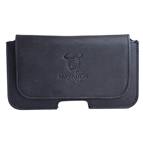 MATADOR Quertasche Horizontaltasche schutztasche Echt Leder Slim Design mit breite Gürtelschlaufe kompatibel mit iPhone 7 (4.7 Zoll) (Natur Schwarz)
