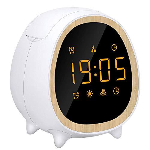Basage Reloj Difusor de Aceite Esencial con Pantalla LED de Tiempo, Despertador, Luz de Despertador para Dormitorio, Cabecera, Oficina, Enchufe de la UE