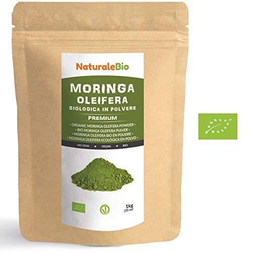 Moringa Oleifera Bio in Polvere [ Qualità Premium ] 1kg. 100% Biologica, Naturale e Pura. Foglie Raccolte dalla Pianta di Moringa Oleifera. Superfood Ricco di Antiossidanti e Nutrienti. NaturaleBio