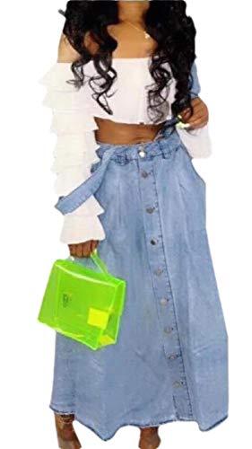 security Damen Jeanskleid, verstellbare Träger, Latz, Jeanskleid, Jeanskleid Gr. Medium, blau
