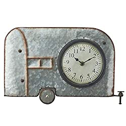 The Lakeside Collection Galvanized Metal Retro Metal Wall Hanging Novelty Clock - Camper