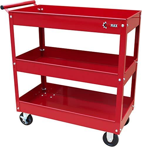 Carmax Werkstattwagen 3 Etagen Metall Rollwagen Werkstatt Werkzeug Wagen rot