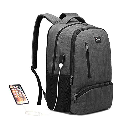 Kono Travel Laptop Backpack with USB Charging Port School Water Resistant Computer Bag Rucksack Fits 15.6 Inch Laptop (Grey)
