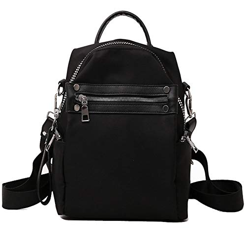 Women's Wallet, Small Backpack for Travel Backpack Nylon Shoulder Bag for Girls Women Lady - Black -