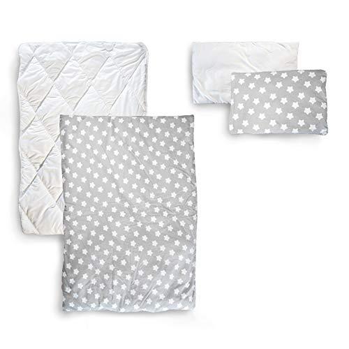 Alcube Bettwäsche Set mit Bettdecke Kissen Kinderbettwäsche 100x135, Kissenbezug 40x60 - Kinder Bettwäsche Sterne in grau weiß für Baby-Bett, Kinderbett Mädchen und Jungen