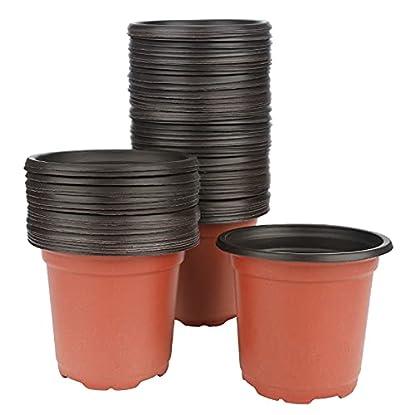 Foto di KINGLAKE 100 vasi di plastica per Piante, Fiori e per la Semina, di 10 cm di Diametro, Perfetti per Il Giardinaggio