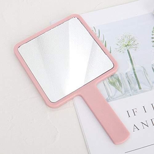 Espejo de maquillaje con mango de espejo cuadrado para maquillaje de mano, espejo de mano, espejo de mano, espejo de spa, salón de maquillaje, cosmético compacto para mujer, color rosa