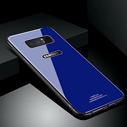 Hard Rigid Tempered Glass Back Cover for Samsung Galaxy Note 8, Aearl Pure Color Crystal Clear Rear Back Glass Plastic Dual Layer Anti Slip TPU Silicone Bumper Case for Samsung Galaxy Note 8 - Blue